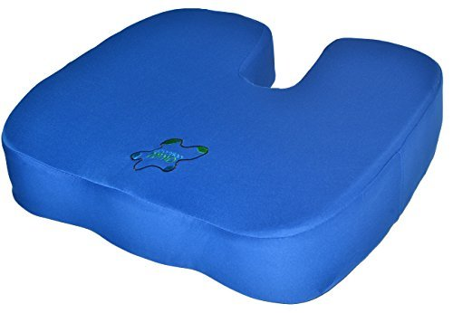4 Inches Thick Coccyx Orthopedic Pressure Relieving Memory Foam Seat Cushion Physical Therapists Recommended, Blue Large Firm 18x16x4