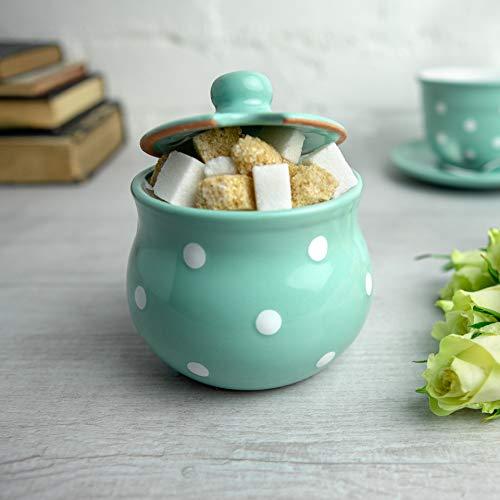 Teal Blue Polka Dot Sugar Bowl