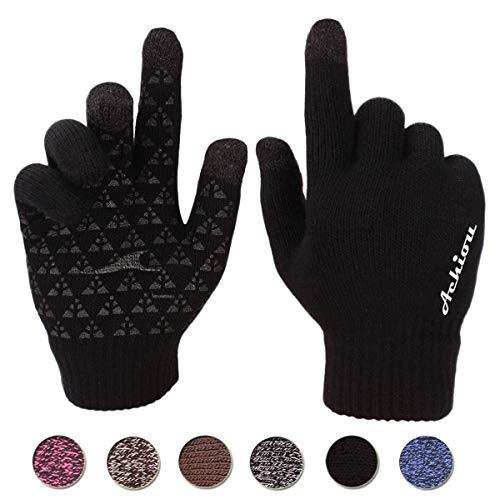 Achiou Winter Warm Touchscreen Gloves for Women Men Knit Wool Lined Texting (Black, XL)