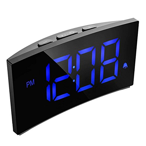 Digital Alarm Clock, Pictek 5 Inch Dimmable LED Screen, Kids Desk Clock with Snooze Function, 12/24 Hour, USB Port and Battery Backup for Bedroom Living Room Office - Blue (Without Adapter)