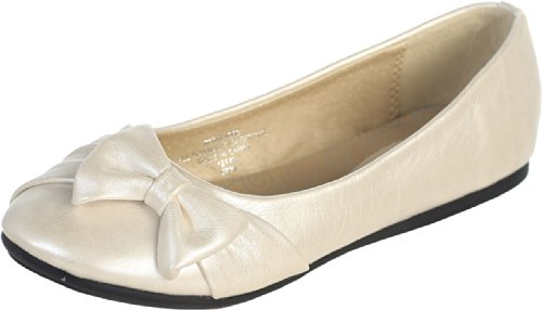 Dempsey Marie Ivory Pearl Girl's Flat Shoes with Side Bow Girl 2