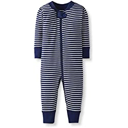 Moon and Back by Hanna Andersson Baby/Toddler One-Piece Organic Cotton Footless Pajamas, Navy Stripe, 2T