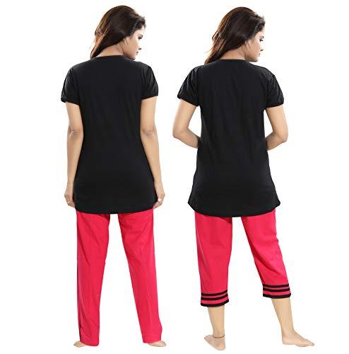 "TUCUTE Women/Girls Cotton Hosiery 3 pcs Top, Pajama & Capri Nightwear/Nighty/Nightsuit/Loungewear/Nightsuit (Top,Pajama & Capri) Size: Large=38"" XL-40 & XXL-42 5"