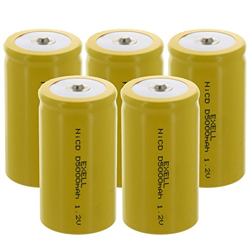 (5-PACK) Exell D Size 1.2V 5000mAh NiCD Button Top Rechargeable Batteries for medical instruments/equipment, electric razors, toothbrushes, radio controlled devices, electric tools