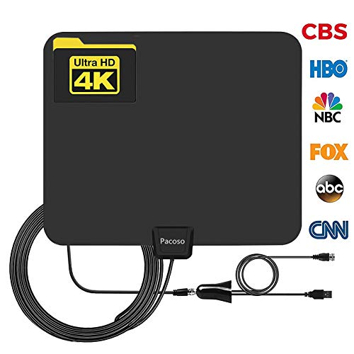 HDTV Antenna 50-100 Miles Range Support 4K 1080p, VHF UHF Freeview Channels with Detachable Amplifier,and 13.3ft Longer Coax Cable