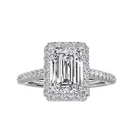 d3ea0f89d03f6b Tenfit Jewelry Women's Ring 18k Gold Plated Square Cubic Zircon Engagement  ...