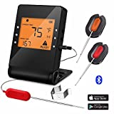 Barbecue Meat Thermometer Wireless Bluetooth Cooking Probe with 2 Probe for Indoor Outdoor Oven Grill Smoker BBQ Remote Control Digital Supports IOS and Android Android Phone Monitoring