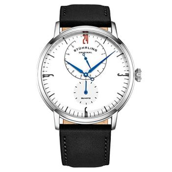 Stührling Original Black Men Watch Horween Black Leather Watch Band - Minimalist Analog Dress Watch - Wrist Watch for Men with Domed Crystal - Mens Watch - 24 Hour Subdial- Watches for Men