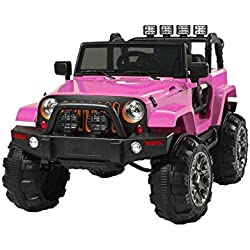 Pink Jeep Style 12V Ride On Car Truck With Remote Control, 3 Speeds, Spring Suspension, LED Lights