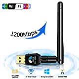 Wsky USB WiFi Adapter, 1200Mbps USB Wireless Network Adapter for Laptop/PC/Desktop, WiFi Dongle with 5dBi Antennas Dual Band 2.4GHz/5GHz, Support Windows XP/Vista/7/8/8.1/10 Mac OS 10.4-10.12 Linux