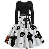 Halloween One-Piece Dress, Black Pumpkin Devil Ghost Print Dress for Women Ladies O-Neck Long Sleeve Audrey Hepburn Skirt Party Swing Dress by Jessie, Orange, XL
