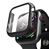 pzoz Compatible Apple Watch Series 5 / Series 4 Case with Screen Protector 40mm Accessories Slim Guard Thin Bumper Full Coverage Matte Hard Cover Defense Edge for Women Men New Gen GPS iWatch (Black)