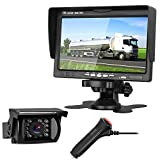 LeeKooLuu Backup Camera System for RV/SUV/Pickup/Truck/Trailer/Van Rear View/Side View/Front View Single Power System with 7'' HD Monitor Reversing/Driving Use IP68 Waterproof Guide Lines ON/Off