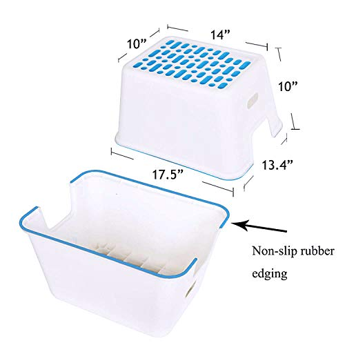 """dporticus 2 Pack Large Kids Non-Slip Step Stool for Toilet Potty Training, Adult Bathroom Anti-Skid Stool,10""""Blue"""
