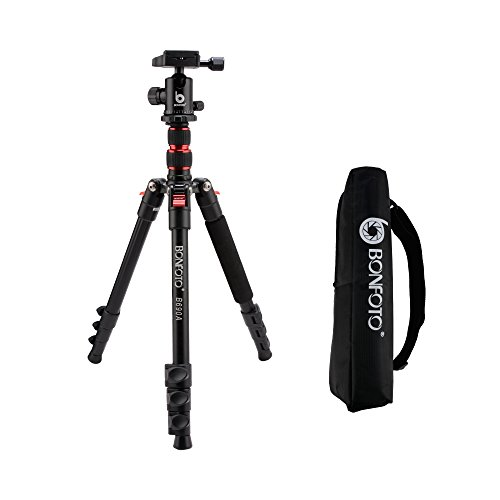 BONFOTO B690A Lightweight Aluminum Alloy Camera Travel Portable Tripod with 360 Degree Ball Head,1/4″ Quick Release Plate and Carry Bag for Canon Nikon Sony DSLR
