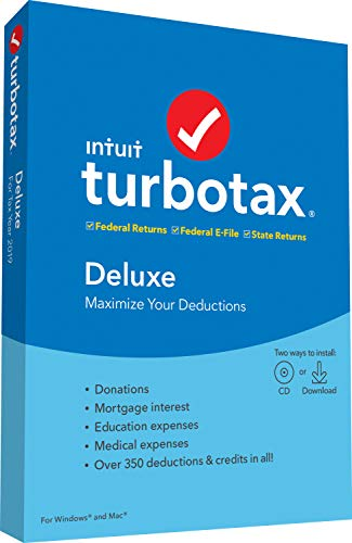 [Old Version] TurboTax Deluxe + State 2019 Tax Software [PC/Mac Disc] 1