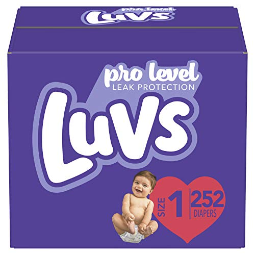 Diapers Newborn/Size 1 (8-14 lb), 252 Count – Luvs Ultra Leakguards Disposable Baby Diapers, ONE MONTH SUPPLY