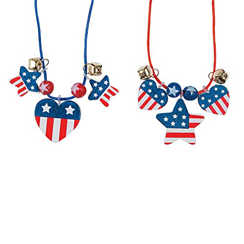 Fun Express - Patriotic Wood Necklace Craft Kit for Fourth of July - Craft Kits - Kids Jewelry Craft Kits - Kids Necklace - Fourth of July - 12 Pieces