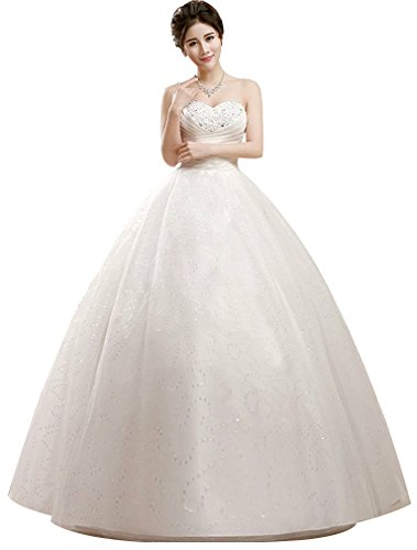 41 BIwT1R9L 100% New & High Quality SIZE 2-18 & Customzation Wedding dress,Sequins bodice,Ruched Waist,Floor Length, Back with bandage.