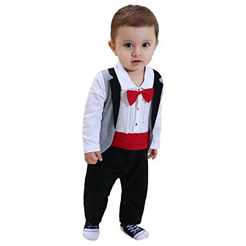 103547538 ZOEREA 1pc Baby Boys Tuxedo Gentleman Onesie Romper Jumpsuit Wedding ...