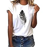 Adeliber Fashion Women's Loose Short-Sleeved Leaf Print T-Shirt Casual O-Neck Top T-Shirt for Women White