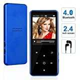MP3 Player with Bluetooth, WIDON 8GB Music Player with Speaker Touch Button 2.4'' Screen up to 128GB, Portable Audio Player with Shuffle A-B Bookmark Variable Speed for Audio Books - Metal Body Blue