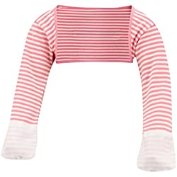 ScratchSleeves | Baby Girls' Stay-On Scratch Mitts Stripes | Pink and Cream | 9 to 12 Months