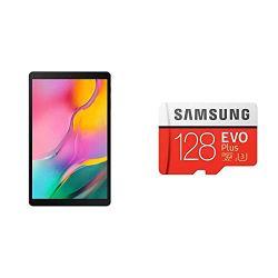Samsung Galaxy Tab A 10.1 (10.1 inch, 32GB, Wi-Fi), Black + Samsung EVO Plus 128GB microSDXC UHS-I U3 100MB/s Full HD & 4K UHD Memory Card with Adapter