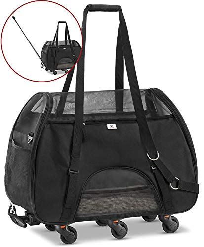 WPS Pet Carrier with Wheels for Small Dogs and Cats - Removable Fleece Bed, Soft Sided, Mesh Windows, Leash Clip, Handle, Carrying Strap - Bone Design - 11'x22'x16 (Soft Black)