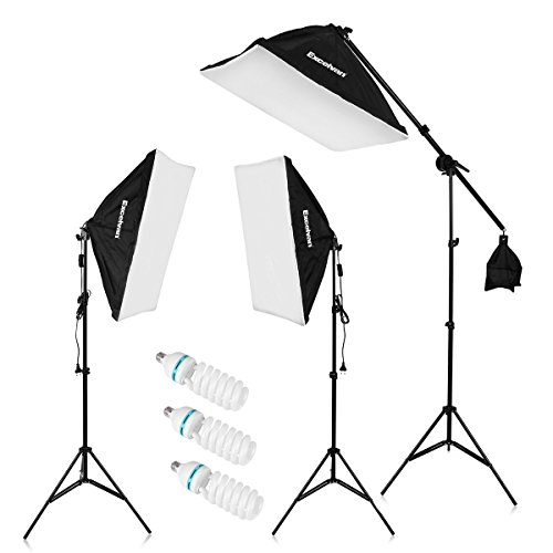 "Excelvan 2000W Photography Studio LED Lighting Kit 20×25"" Auto Pop-up Soft Box with 80"" Light Stand and 135W LED Lamp, SHOX-012"
