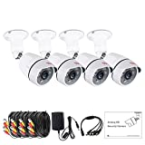 Tonton 4 Pack 1080p Outdoor Indoor Day Night Vision Weatherproof 6pcs IR Infrared LEDs Security Cameras Kits, 120ft IR Distance, Aluminum Metal Housing