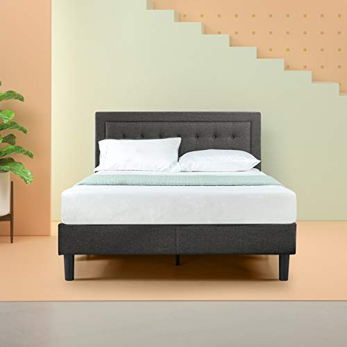 Zinus Dachelle Upholstered Button Tufted Premium Platform Bed / Mattress Foundation / Easy Assembly / Strong Wood Slat Support / Dark Grey, King