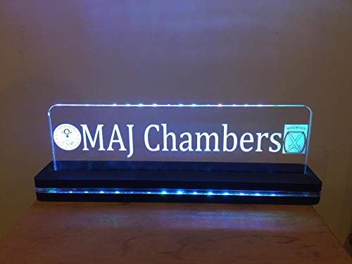 Custom Desktop Nameplate LED Edge Lit Acrylic Laser Engraved and Cut