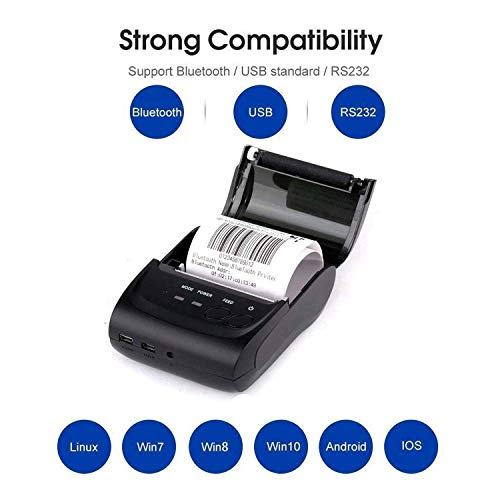 Wireless Bluetooth Receipt Thermal Printer, Portable Personal Bill Printer 2 Inches 58mm Mini USB POS Printer for Restaurant Sales Retail Compatible with Android/iOS/PC/Windows/Linux