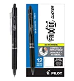 Pilot FriXion Clicker Retractable Erasable Gel Pens Fine Point (.7) Black Ink Dozen Box; Make Mistakes Disappear, No Need For White Out. Smooth Lines to the End of Page, America's #1 Selling Pen Brand