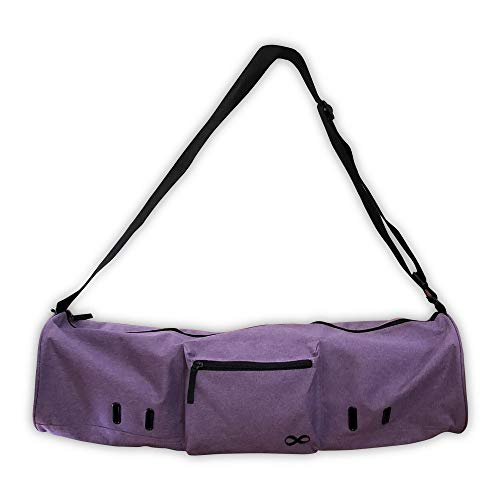 YogaAddict Yoga Mat Bag 'Compact' with Pocket, 28' Long, Fit Most Mat Size, Extra Wide, Easy Access - Purple Snow