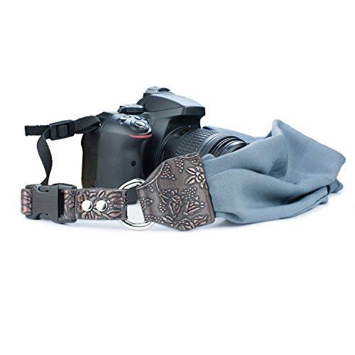 Camera Shoulder Neck Strap, Sugelary Vintage Fabric Satin Scarf Camera Strap for All DSLR Camera Nikon Canon Sony Pentax (Grey)