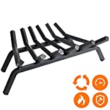 Fireplace Log Grate 27 inch - 6 Bar Fire Grates - Heavy Duty 3/4' Wide Solid Steel - For Indoor Chimney Hearth Outdoor Fire Place Kindling Tool Pit Wrought Iron Wood Stove Firewood Burning Rack Holder