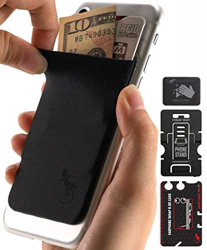 Gecko Travel Tech Phone Wallet - Stick On Card Holder Wallet for Cell Phones - Adhesive Card Pocket for Credit Cards and Money - Sticker for Cases - Phone Stand - RFID Protection Sleeve - (BB)