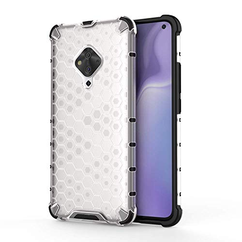 Cassby Shock Proof Dual Layer Hybrid Armor Back Cover Case with Honeycomb Pattern for Vivo S1 Pro - Transparent 1