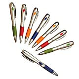 Smooth-Writing Black-ink Pens with Flashlight at the End - Set of 8