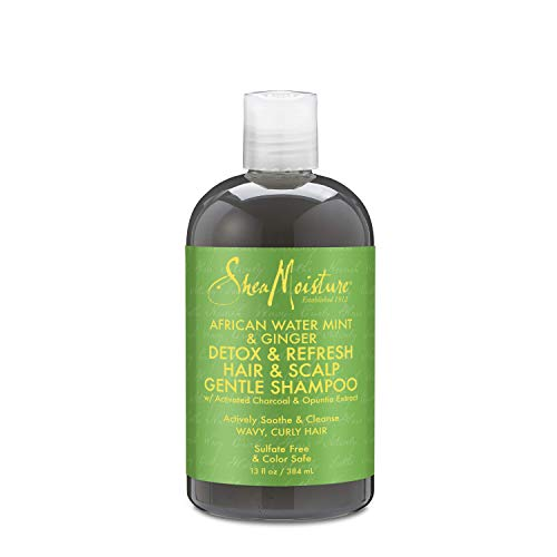 Shea Moisture African Water Mint & Ginger Detox Hair & Scalp Gentle Shampoo for Unisex, 13 Ounce