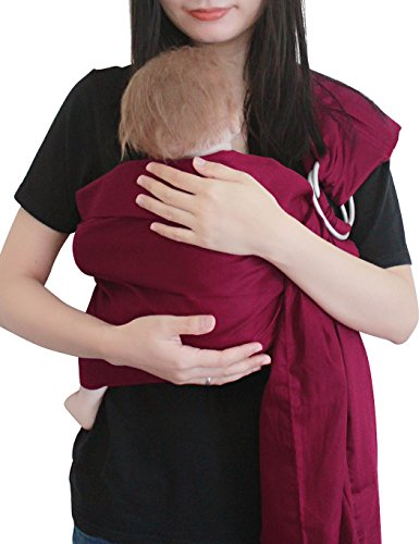 Vlokup Baby Sling Ring Sling Carrier Wrap | Extra Soft Lightweight Cotton Baby Slings for Infant, Toddler, Newborn and Kids | Great Gift, Lightly Padded Adjustable Nursing Cover Wine
