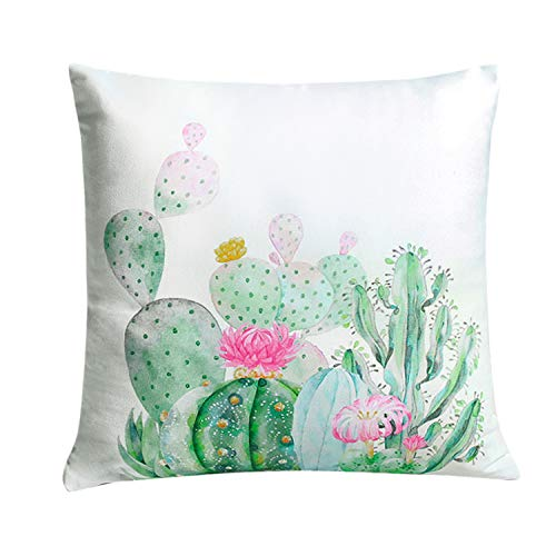 YINFUNG Cactus Pillow Covers Succulent Throw Pillow Cover 18x18 Cacti Tropical Plant Decorative Couch Pillow Cases Sofa Colorful Flower Square Cushion Cover Girls Bday Gifts 1 Piece