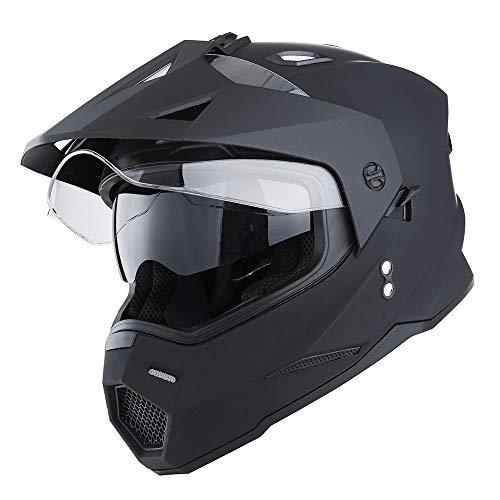 1Storm Dual Sport Motorcycle Motocross Off Road Full Face Helmet Dual Visor Matt Black