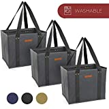 Reusable WASHABLE Grocery Shopping Cart Trolley Bags - set of 3 | Large, Durable, Collapsible Tote with Reinforced Sides and Bottoms (Grey, 3)