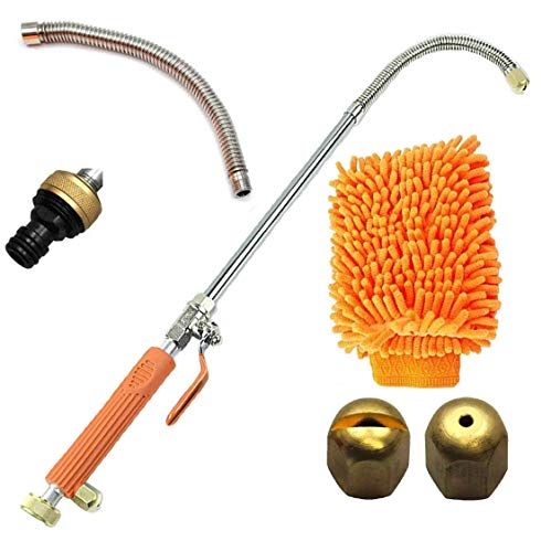 Hydro-Jawn 27' Orange High Pressure Power Washer Wand | Hydro Jet Extension Wand with 2 Nozzles, Flexible Extender, Garden Hose Attachment, and Cleaning Mitt for Cars, Boats, Windows, and Gardens