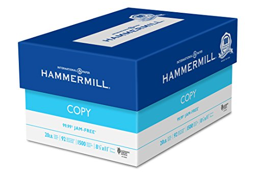 Hammermill Paper, Copy, 20lb, 8.5 x 11, 92 Bright, Letter, 1,500 Sheets / 3 Reams, (113620), Made In The USA