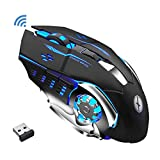 Xmate Zorro Pro Rechargeable 2.4Ghz Wireless Gaming Mouse with USB Receiver 7 Colors Backlit for MacBook, Computer PC, Laptop, 600Mah Lithium Battery with Unbreakable ABS Body for Gamers (Black)