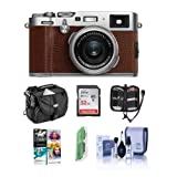 Fujifilm X100F 24.3MP Digital Camera, Fujinon 23mm f/2 Lens, Brown - Bundle with 32GB SDHC Card, Camera Case, Cleaning Kit, Memory Card Case, Card Reader, Software Package